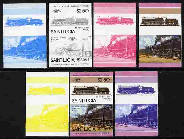 St Lucia 1985 Locomotives #4 (Leaders of the World) $2.50 'Big Bertha 0-10-0' se-tenant pair - the set of 7 imperf progressive proofs comprising the 4 individual colours plus 2, 3 and all 4-colour composite, unmounted mint as SG 830a