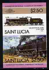 St Lucia 1985 Locomotives #4 (Leaders of the World) $2.50 'Big Bertha 0-10-0' se-tenant pair imperf from limited printing unmounted mint as SG 830a