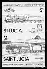 St Lucia 1983 Locomotives #1 (Leaders of the World) $1 Schools Class 'Eton' 4-6-0 se-tenant pair imperf proof in black only unmounted mint as SG 661a