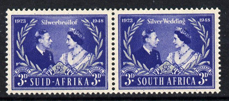 South Africa 1948 KG6 Royal Silver Wedding bi-lingual horizontal pair unmounted mint, SG 125