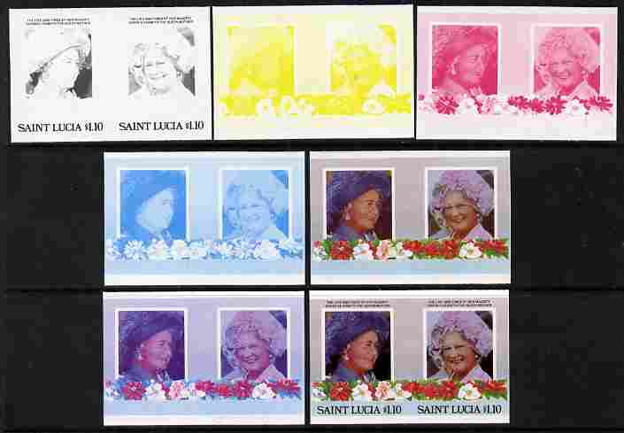 St Lucia 1985 Life & Times of HM Queen Mother (Leaders of the World) $1.10 se-tenant pair - the set of 7 imperf progressive proofs comprising the 4 individual colours plus 2, 3 and all 4-colour composite, unmounted mint as SG 836a