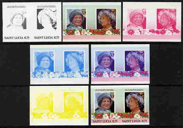 St Lucia 1985 Life & Times of HM Queen Mother (Leaders of the World) $1.75 se-tenant pair - the set of 7 imperf progressive proofs comprising the 4 individual colours plus 2, 3 and all 4-colour composite, unmounted mint as SG 838a