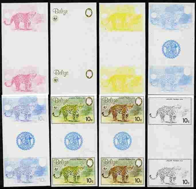 Belize 1983 WWF - Jaguar 10c (Adult Jaguar) inter-paneau gutter pair - the set of 8 imperf progressive proofs comprising the 5 individual colours plus 2, 4 and all 5-colour composites, unmounted mint as SG 757