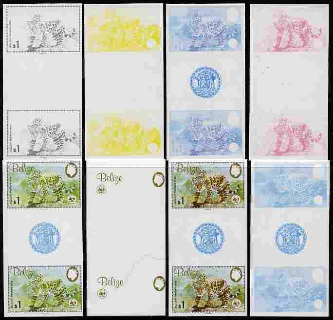 Belize 1983 WWF - Jaguar $1 (Jaguar on rock) inter-paneau gutter pair - the set of 8 imperf progressive proofs comprising the 5 individual colours plus 2, 4 and all 5-col...