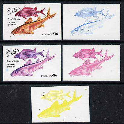 Oman 1974 Tropical Fish 4b (Soldier & Goatfish) set of 5 imperf progressive colour proofs comprising 3 individual colours (red, blue & yellow) plus 3 and all 4-colour composites unmounted mint