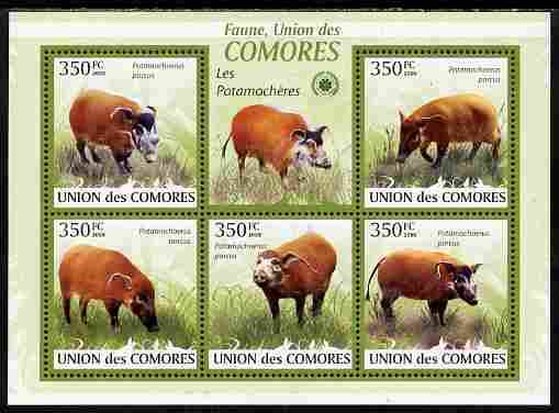 Comoro Islands 2009 Bush Pigs perf sheetlet containing 5 values unmounted mint Yv 1701-05, Mi 2430-35