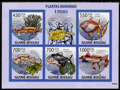 Guinea - Bissau 2009 Marine Plants & Fishes perf sheetlet containing 5 values unmounted mint Yv 2991-95