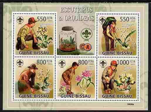 Guinea - Bissau 2009 Scouts & Orhids perf sheetlet containing 5 values unmounted mint Yv 3011-15