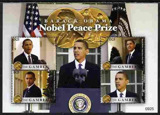Gambia 2009 Barack Obama Wins Nobel Peace Prize perf sheetlet containing 4 values unmounted mint