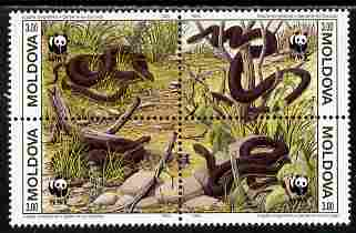 Moldova 1993 WWF - Snakes perf se-tenant block of 4 x 3r unmounted mint SG 57-60