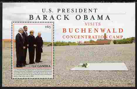 Gambia 2009 Barack Obama visits Germany perf s/sheet (Buchenwald Concentration Camp) unmounted mint
