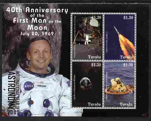 Tuvalu 2009 40th Anniversary of Moon Landing perf sheetlet containing 4 values unmounted mint