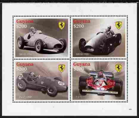 Guyana 2009 Ferrari Cars perf sheetlet containing 4 values unmounted mint