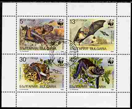Bulgaria 1989 WWF - Bats perf sheetlet containing 4 values cto used, SG 3593-96