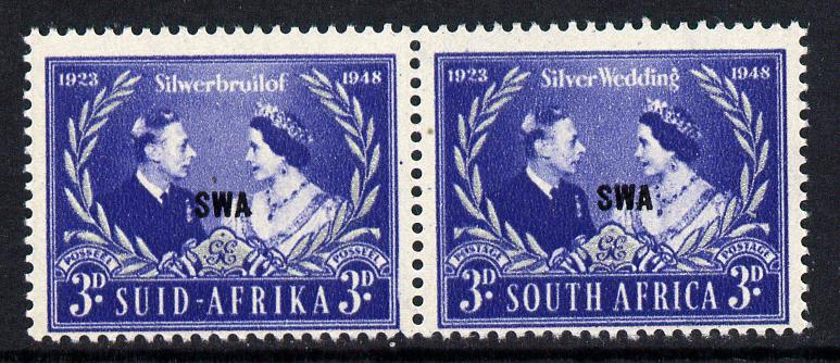 South West Africa 1948 KG6 Royal Silver Wedding bi-lingual pair unmounted mint, SG 137