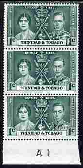 Trinidad & Tobago 1937 KG6 Coronatio 1c vert strip of 3 with Plate number A1 unmounted mint (plate numbers are surprisingly scarce on the Coronation issues)