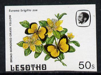 Lesotho 1984 Butterflies Broad-Bordered Grass Yellow 50s imperf proof with background colour omitted