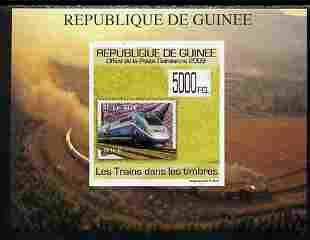 Guinea - Conakry 2009 Trains on Stamps #1 individual imperf deluxe sheetlet unmounted mint. Note this item is privately produced and is offered purely on its thematic appeal
