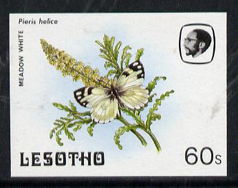 Lesotho 1984 Butterflies Meadow White 60s imperf proof with background colour omitted