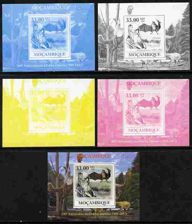 Mozambique 2009 200th Birth Anniversary of Charles Darwin #02 individual deluxe sheet - the set of 5 imperf progressive proofs comprising the 4 individual colours plus all 4-colour composite, unmounted mint