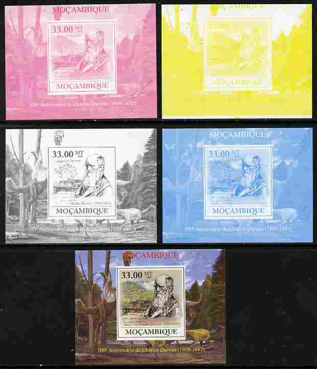 Mozambique 2009 200th Birth Anniversary of Charles Darwin #03 individual deluxe sheet - the set of 5 imperf progressive proofs comprising the 4 individual colours plus all 4-colour composite, unmounted mint