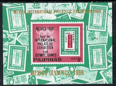 Philippines 1968  Mexico Olympic Games unissued 5c imperf m/sheet showing various stamps (also for Mexico Philatelic Exhibition) unmounted mint