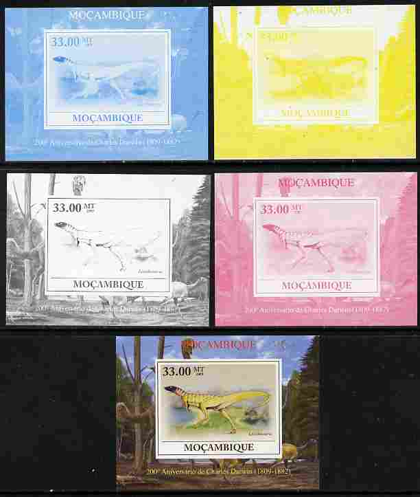 Mozambique 2009 200th Birth Anniversary of Charles Darwin #06 individual deluxe sheet - the set of 5 imperf progressive proofs comprising the 4 individual colours plus all 4-colour composite, unmounted mint