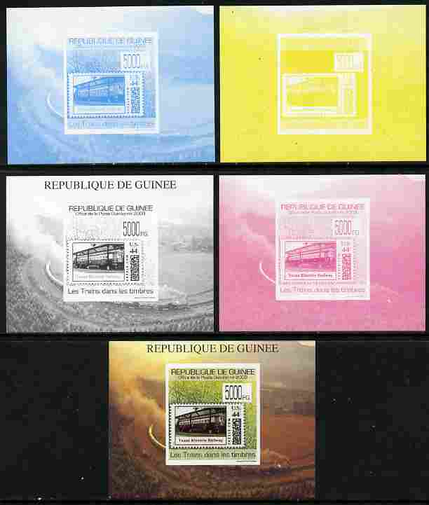 Guinea - Conakry 2009 Trains on Stamps #2 individual deluxe sheet - the set of 5 imperf progressive proofs comprising the 4 individual colours plus all 4-colour composite, unmounted mint