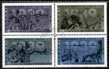 Canada 1989 50th Anniversary of Second World War (1st issue - 1939) se-tenant block of 4 fine cds used, SG 1346a