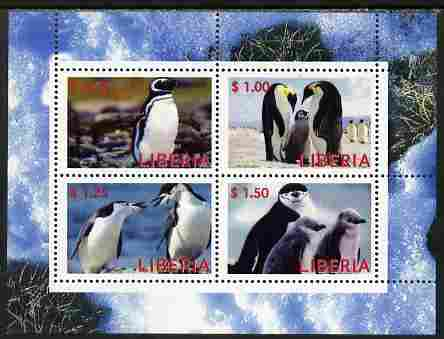 Liberia 2000 Penguins perf sheetlet containing 4 values unmounted mint