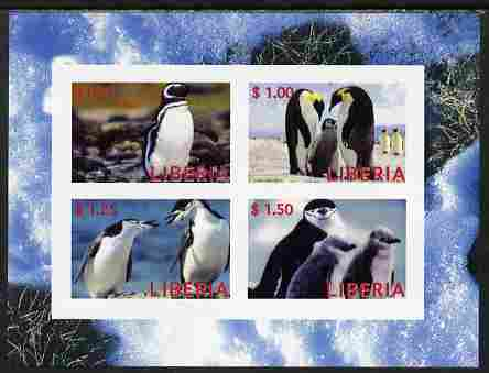 Liberia 2000 Penguins imperf sheetlet containing 4 values unmounted mint