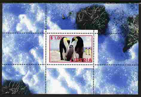 Liberia 2000 Penguins perf s/sheet unmounted mint