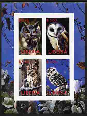 Liberia 2000 Owls #1 imperf sheetlet containing 4 values unmounted mint