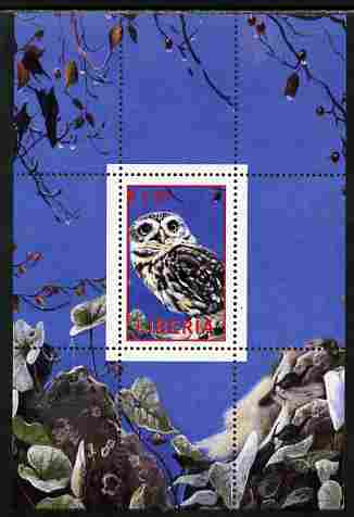 Liberia 2000 Owls #4 perf s/sheet unmounted mint