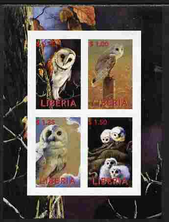 Liberia 2000 Owls #2 imperf sheetlet containing 4 values unmounted mint