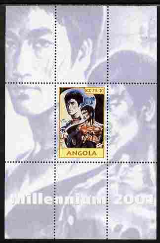 Angola 2001 Millennium series - Bruce Lee perf s/sheet unmounted mint. Note this item is privately produced and is offered purely on its thematic appeal, stamps on personalities, stamps on films, stamps on cinema, stamps on movies, stamps on martial arts