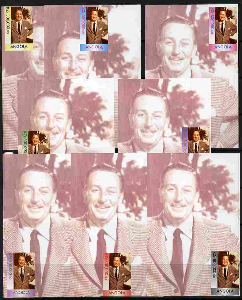 Angola 1999 Walt Disney #1 the set of 8 imperf souvenir sheets each with stamp in a different colour and a different position unmounted mint, stamps on personalities, stamps on millennium, stamps on films, stamps on cinema, stamps on movies, stamps on disney