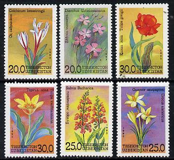 Uzbekistan 1993 Flowers perf set of 6 unmounted mint SG 35-40