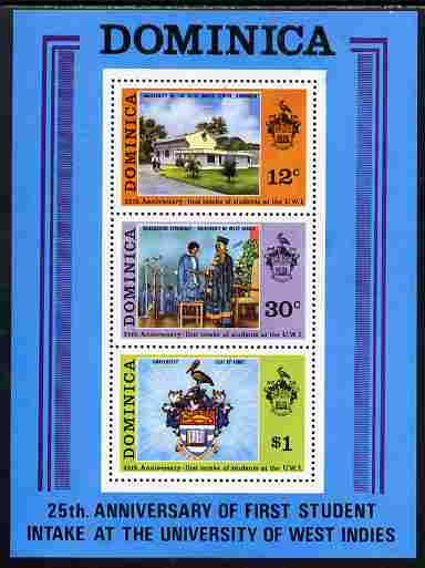 Dominica 1973 25th Anniversary of West Indies University perf m/sheet unmounted mint, SG MS 414