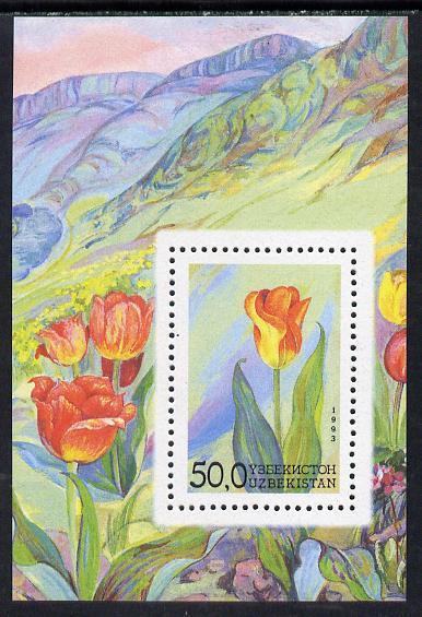 Uzbekistan 1993 Flowers perf m/sheet unmounted mint SG MS41