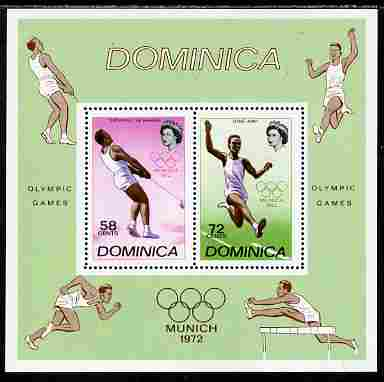 Dominica 1972 Munich Olympic Games perf m/sheet unmounted mint, SG MS 361