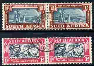 South Africa 1938 KG6 Voortrekker Commemoration set of 4 (2 horiz bi-lingual pairs) fine cds used SG 80-81
