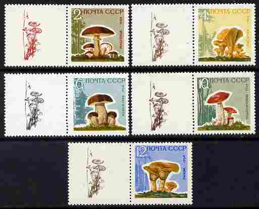 Russia 1964 Mushrooms perf set of 5 on varnished paper each se-tenant with label depicting a mushroom, unmounted mint SG 3058b-62b