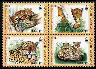 Azerbaijan 2005 WWF - Endangered Species - Leopards perf se-tenant block of 4 unmounted mint SG 591-4