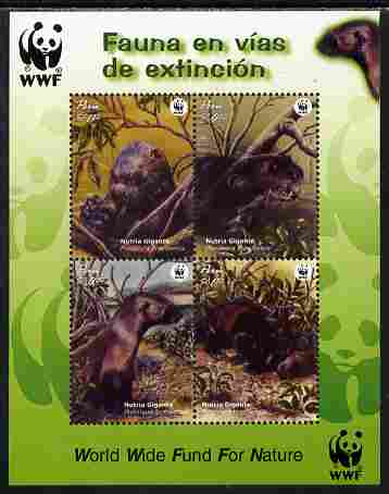 Peru 2004 WWF - Endangered Species - Giant Otter perf sheetlet containing 4 values unmounted mint SG MS 2260