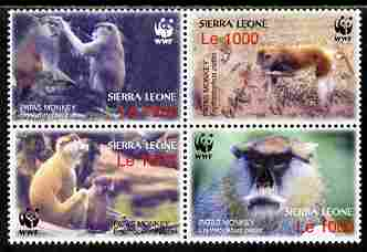 Sierra Leone 2004 WWF - Endangered Species - Patas Monkey perf se-tenant block of 4 unmounted mint SG 4290-3