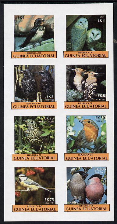 Equatorial Guinea 1977 Birds (Owl, Blue Tit, Bull finch etc) imperf set of 8 (Mi 1205-12B) unmounted mint