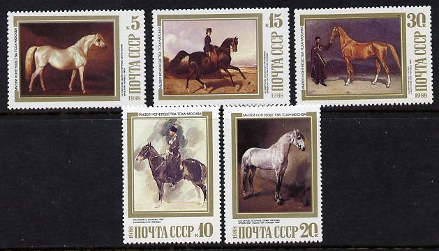 Russia 1988 Paintings of Horses set of 5 unmounted mint, SG 5899-5903, Mi 5854-58*