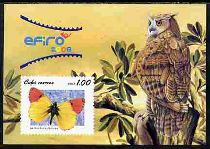 Cuba 2008 EFIRO Stamp Exhibition imperf m/sheet unmounted mint (Features a Butterfly & Owl)