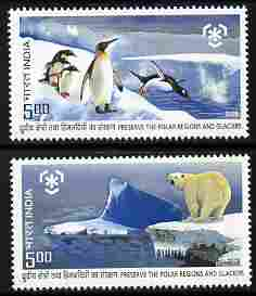 India 2009 Preserve the Polar Regions perf set of 2 values unmounted mint